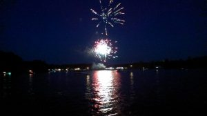 fireworks in the bay at Muskoka Wharf